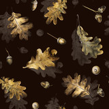 Seamless pattern with autumn golden leaves of oak and acorns. Hand drawn illustration with colored pencils. Botanical natural design for textiles, interior or some background. - 231212562