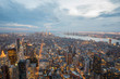 Twilight of Manhattan, New York. Aerial view with dramatic sky