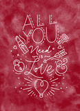 Valentine day poster all you need is love red - 231228305