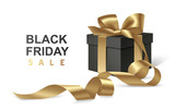 Black friday sale design template. Decorative black gift box with golden bow and long ribbon isolated on white background. Vector illustration - 231230325