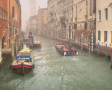 Foggy Scene at Small Channel of Venice, Italy - 231230591