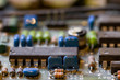 dark background of old electronic circuit board closeup with dus