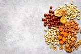 Assortment of nuts and dried fruits - healthy snack.Top view with copy space. - 231250957