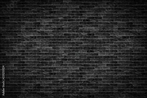 old dark black brick wall texture design pattern background