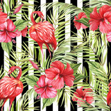 Seamless pattern with watercolor flamingo and hibiscus flowers on abstract white black geometric background. - 231263188