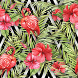 Seamless pattern with watercolor flamingo and hibiscus flowers on abstract white black geometric background. - 231263196