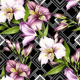 Seamless pattern with watercolor alstroemeria flowers on abstract white black geometric background. - 231263302