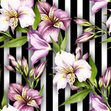Seamless pattern with watercolor alstroemeria flowers on abstract white black geometric background. - 231263314