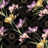 Seamless pattern with watercolor freesia flowers on abstract geometric background. - 231263334