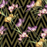 Seamless pattern with watercolor freesia flowers on abstract geometric background. - 231263350