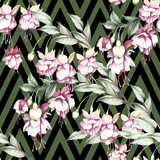 Seamless pattern with watercolor exotic flowers on abstract geometric background. - 231263358
