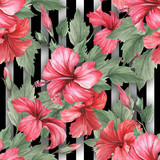 Seamless pattern with watercolor hibiscus flowers on abstract white black geometric background. - 231263384