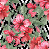 Seamless pattern with watercolor hibiscus flowers on abstract white black geometric background. - 231263391