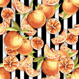 Seamless pattern with watercolor oranges on abstract white black geometric background. - 231263506