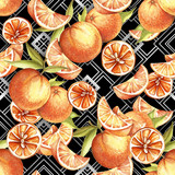 Seamless pattern with watercolor oranges on abstract white black geometric background. - 231263517