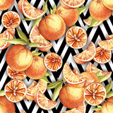 Seamless pattern with watercolor oranges on abstract white black geometric background. - 231263536