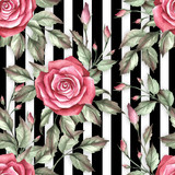 Seamless pattern with watercolor roses on abstract white black geometric background. - 231263549