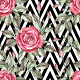 Seamless pattern with watercolor roses on abstract white black geometric background. - 231263557