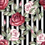 Seamless pattern with watercolor roses on abstract white black geometric background. - 231263567