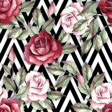 Seamless pattern with watercolor roses on abstract white black geometric background. - 231263577