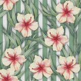 Seamless pattern with watercolor exotic flowers and leaves on abstract geometric background. - 231263730