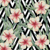 Seamless pattern with watercolor exotic flowers and leaves on abstract white black geometric background. - 231263761
