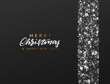Christmas Background. Border made of stars and silver sparkle. Xmas greeting card. Vector Happy New Year - 231268997