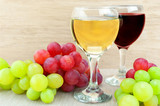 Grape and wine on the table