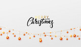 Merry Christmas and Happy New Year. Background gold string garlands with balls and stars realistic set. Golden Xmas decor. Festive design element
