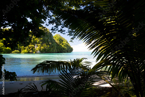 View of tropical islands from secluded bay