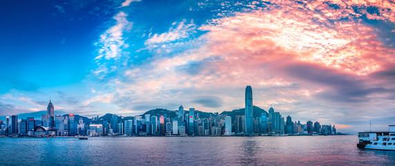 Sunset in Victoria Harbor Hong Kong © YiuCheung