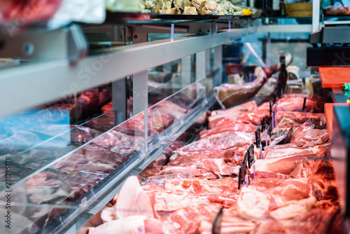 Fresh raw red meat at the butcher - 231285178