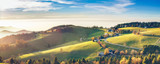 Scenic autumn mountain landscape of Black Forest, Germany. Panorama view.