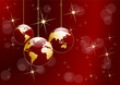 Christmas tree, vector postcard in red. Balls in the shape of planet earth, background