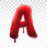 Translucent bloody alphabet isolated on transparent background - 231293500