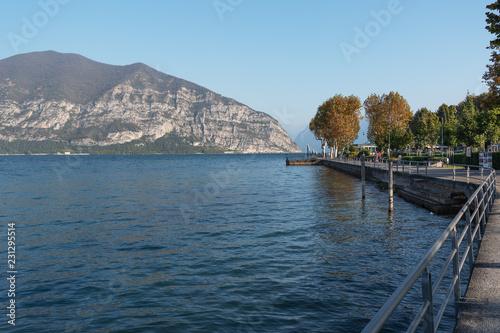Iseo lake coast in Iseo city, Italy.