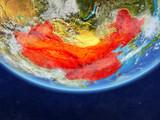 China on realistic model of planet Earth with country borders and very detailed planet surface and clouds. - 231297369