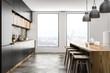 Loft kitchen interior with bar