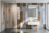 Bathroom interior, shower and sink