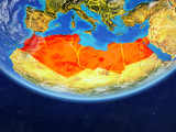 North Africa on realistic model of planet Earth with country borders and very detailed planet surface and clouds. - 231299558