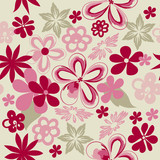 Floral printed pattern for fabric design. Hand-drawn flowers scattered without a system on a light background.