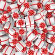 Geschenke in weiß mit roten Schleifen - Weihnachtsgeschenke - Geburtstagsgeschenke