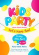 Colorful invitation for kids party. Vector design template