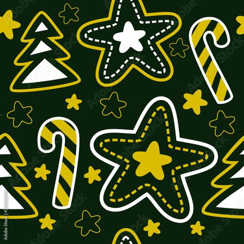 fototapeta na ścianę Seamless Christmas tree, star and stick pattern. Dark green background. Vector illustration.