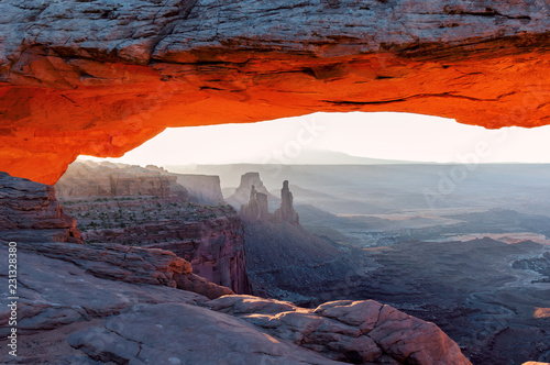 Iconic rock formation at dawn, Mesa Arch, Moab, Utah
