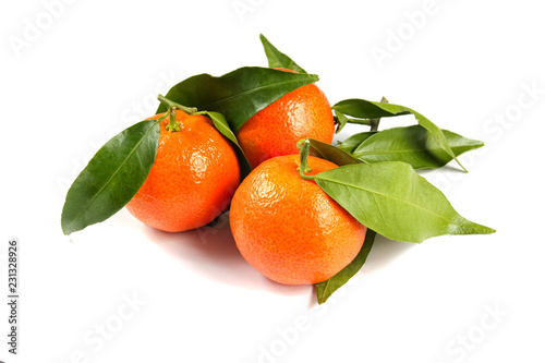 tangerines with leaves isolated on white - 231328926