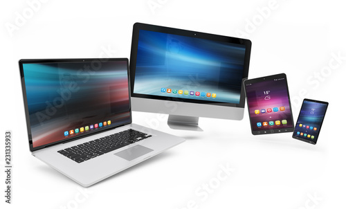 Isolated modern devices floating 3d rendering
