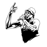 Rap singer. Rapper character with microphone in comic style. Vector illustration - 231344921