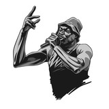 Rap singer. Rapper character with microphone in comic style. Vector illustration - 231344933