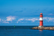 Leinwandbild Motiv Mole an der Ostseeküste in Warnemünde